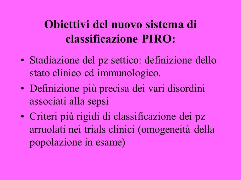 Obiettivi del nuovo sistema di classificazione PIRO: Stadiazione del pz settico: definizione dello stato clinico ed immunologico.
