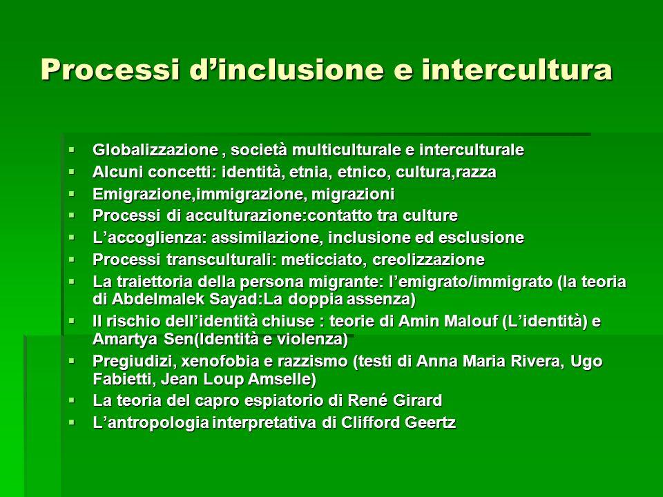 Processi dinclusione e intercultura Globalizzazione, società multiculturale e interculturale Globalizzazione, società multiculturale e interculturale