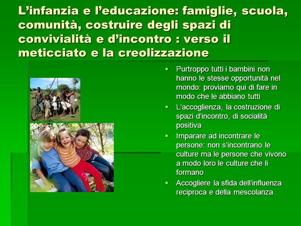 Linfanzia e leducazione: famiglie, scuola, comunità, costruire degli spazi di convivialità e dincontro : verso il meticciato e la creolizzazione Purtr