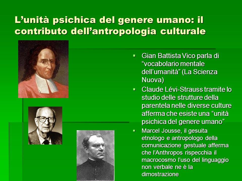Lunità psichica del genere umano: il contributo dellantropologia culturale Gian Battista Vico parla di vocabolario mentale dellumanità (La Scienza Nuo