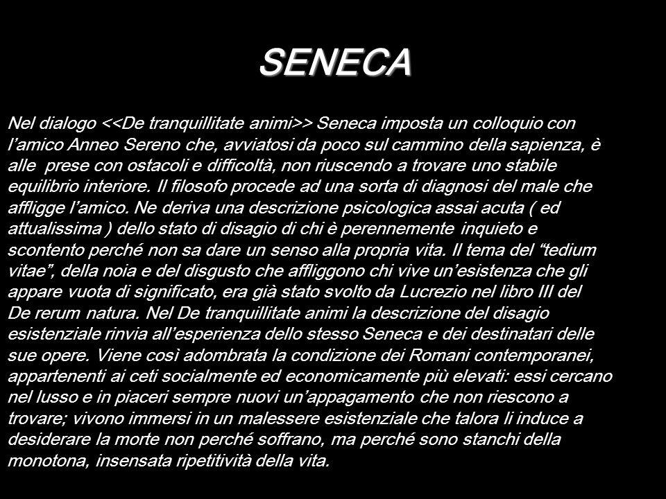 SENECA Nel dialogo > Seneca imposta un colloquio con lamico Anneo Sereno che, avviatosi da poco sul cammino della sapienza, è alle prese con ostacoli