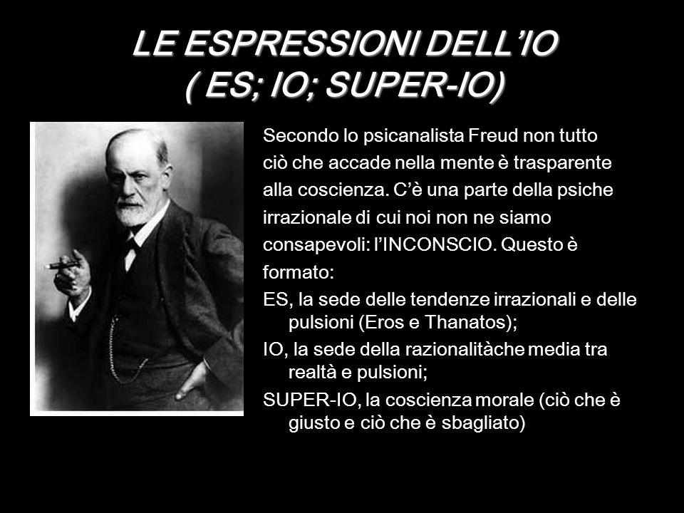 LE ESPRESSIONI DELLIO ( ES; IO; SUPER-IO) Secondo lo psicanalista Freud non tutto ciò che accade nella mente è trasparente alla coscienza. Cè una part