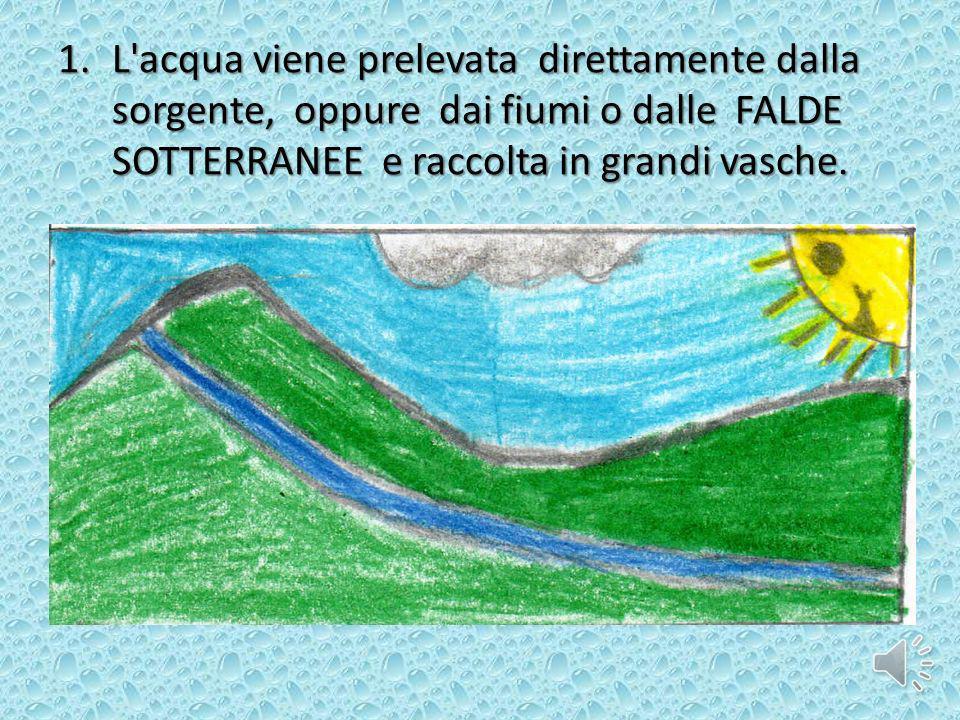 1.L'acqua viene prelevata direttamente dalla sorgente, oppure dai fiumi o dalle FALDE SOTTERRANEE e raccolta in grandi vasche.