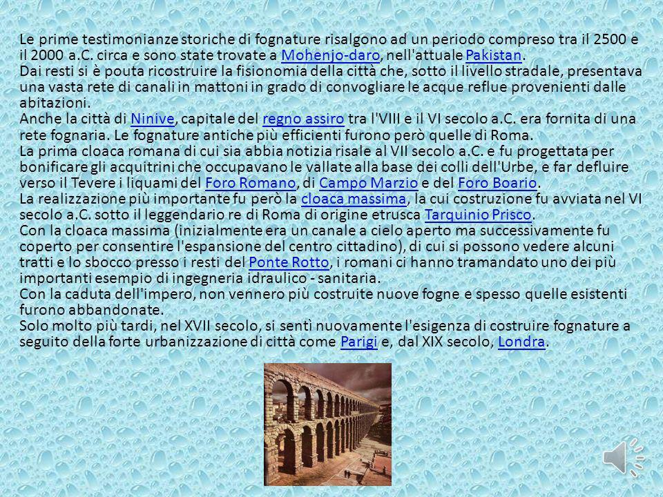 Le prime testimonianze storiche di fognature risalgono ad un periodo compreso tra il 2500 e il 2000 a.C. circa e sono state trovate a Mohenjo-daro, ne