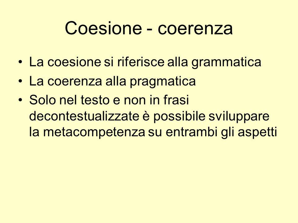 Coesione - coerenza La coesione si riferisce alla grammatica La coerenza alla pragmatica Solo nel testo e non in frasi decontestualizzate è possibile