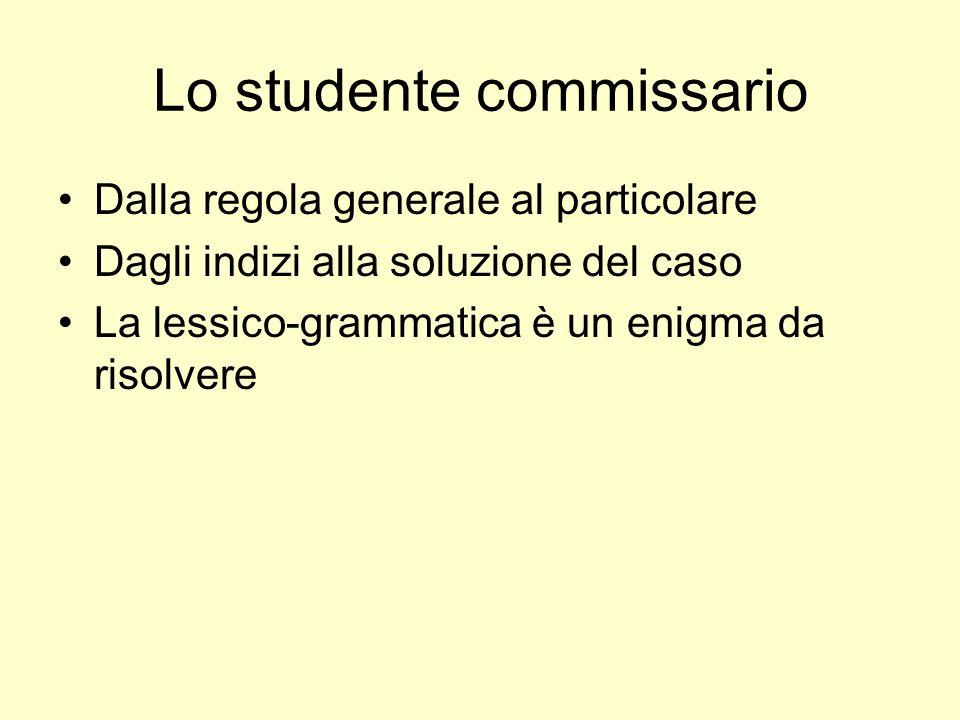 Lo studente commissario Dalla regola generale al particolare Dagli indizi alla soluzione del caso La lessico-grammatica è un enigma da risolvere
