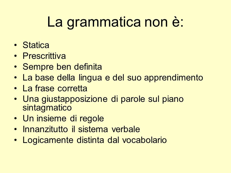 La grammatica non è: Statica Prescrittiva Sempre ben definita La base della lingua e del suo apprendimento La frase corretta Una giustapposizione di p