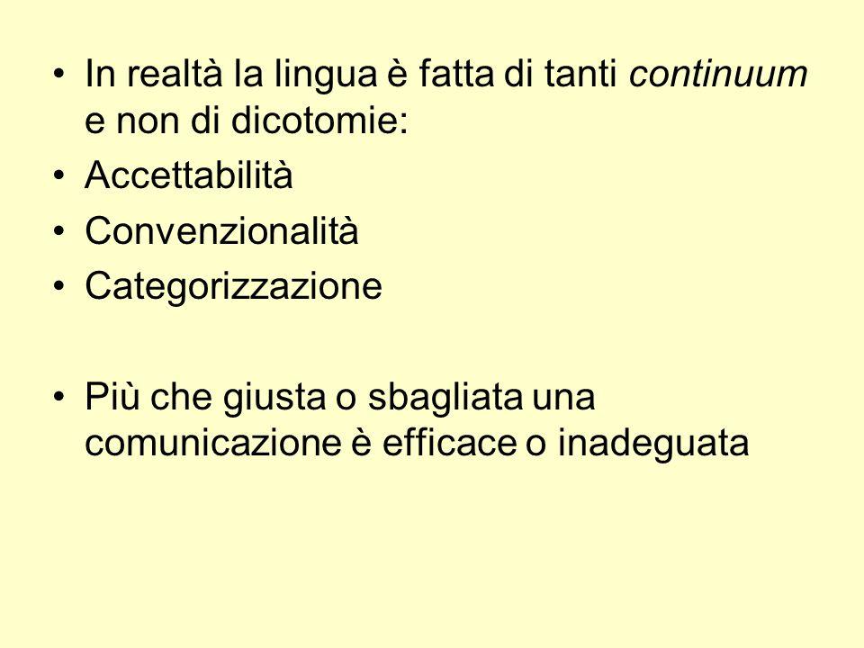In realtà la lingua è fatta di tanti continuum e non di dicotomie: Accettabilità Convenzionalità Categorizzazione Più che giusta o sbagliata una comun