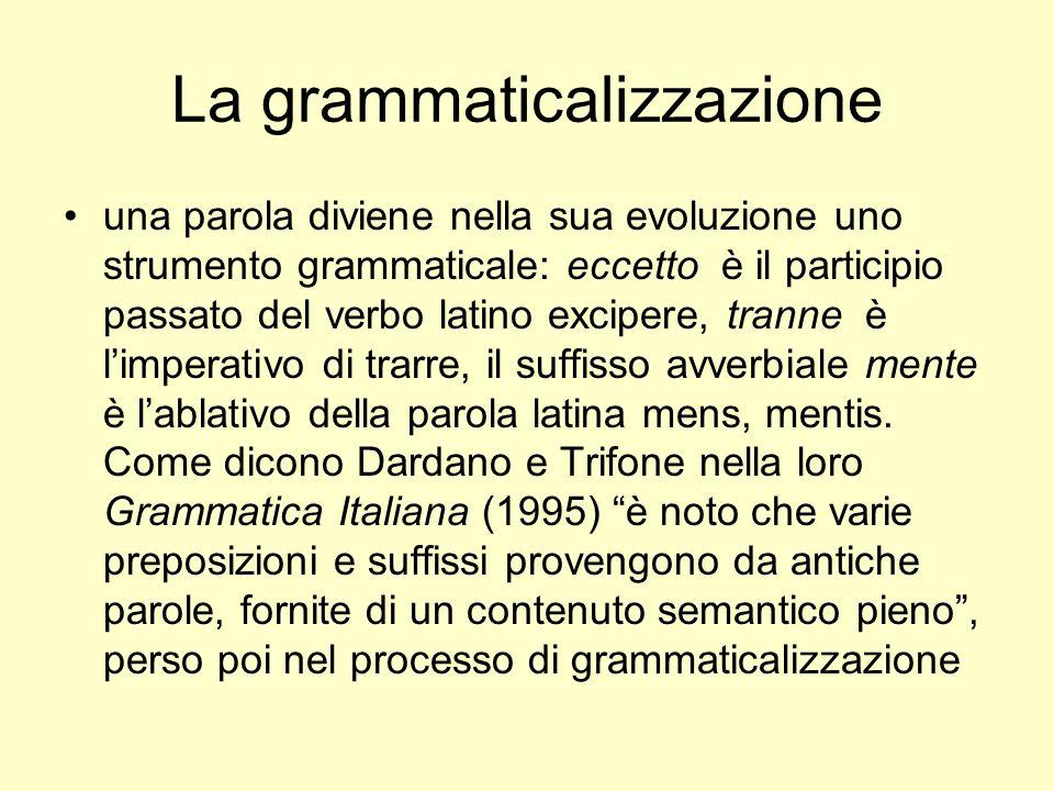 La grammaticalizzazione una parola diviene nella sua evoluzione uno strumento grammaticale: eccetto è il participio passato del verbo latino excipere,