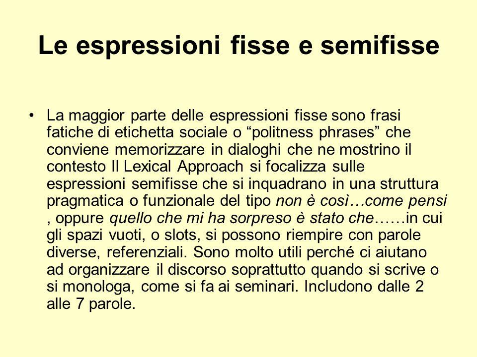 Le espressioni fisse e semifisse La maggior parte delle espressioni fisse sono frasi fatiche di etichetta sociale o politness phrases che conviene mem