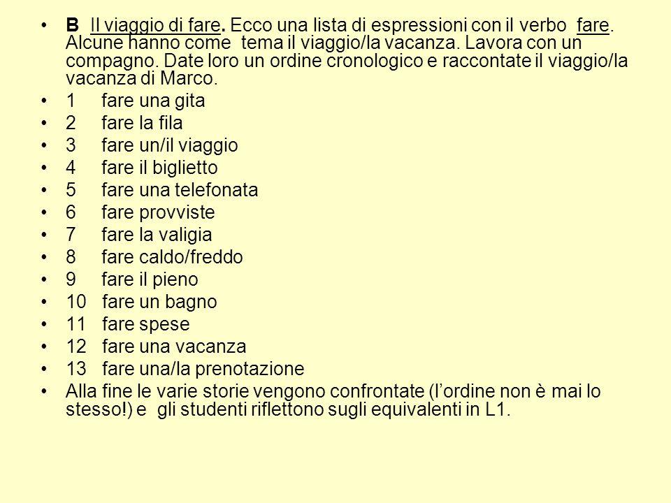 B Il viaggio di fare. Ecco una lista di espressioni con il verbo fare. Alcune hanno come tema il viaggio/la vacanza. Lavora con un compagno. Date loro