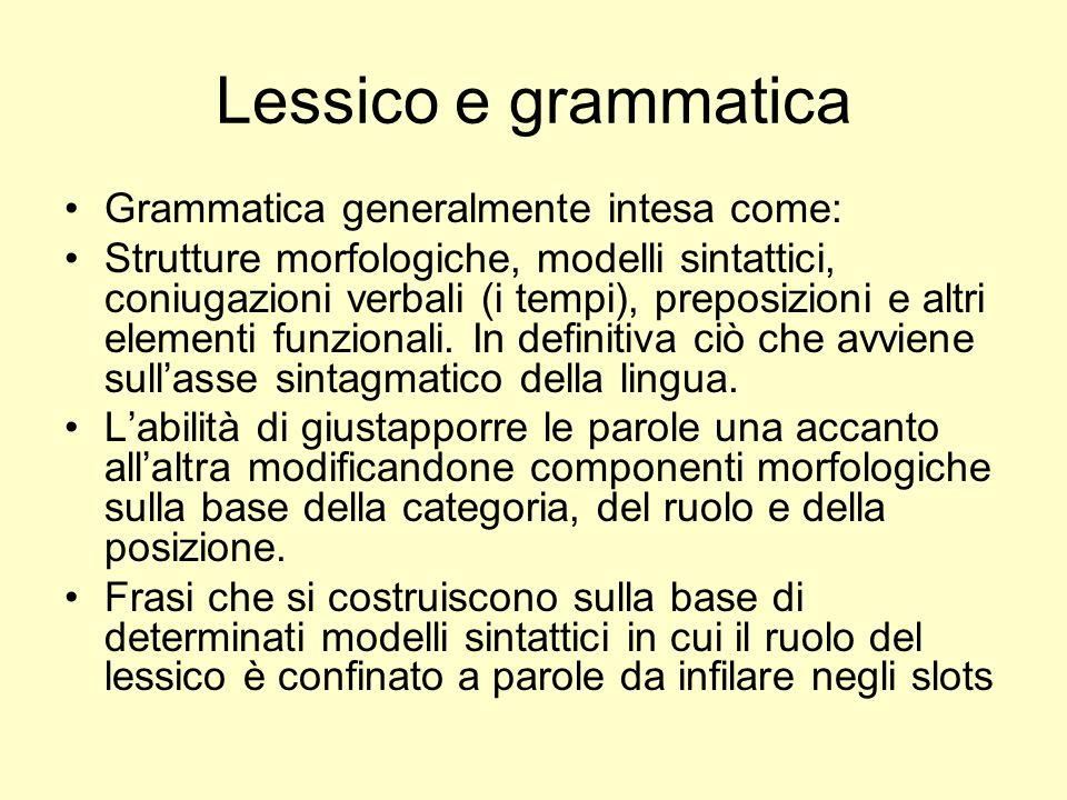 Lessico e grammatica Grammatica generalmente intesa come: Strutture morfologiche, modelli sintattici, coniugazioni verbali (i tempi), preposizioni e a