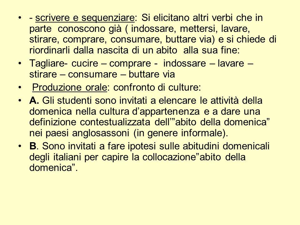 - scrivere e sequenziare: Si elicitano altri verbi che in parte conoscono già ( indossare, mettersi, lavare, stirare, comprare, consumare, buttare via