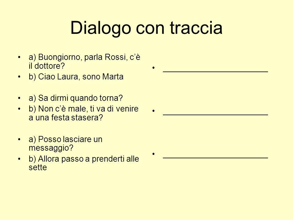 Dialogo con traccia a) Buongiorno, parla Rossi, cè il dottore? b) Ciao Laura, sono Marta a) Sa dirmi quando torna? b) Non cè male, ti va di venire a u