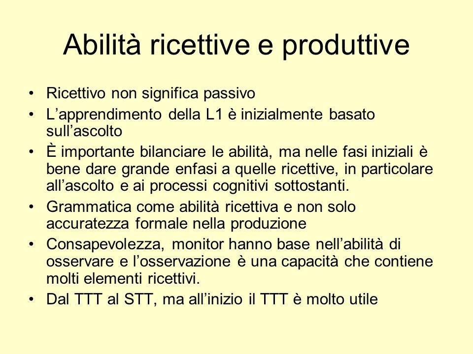 Abilità ricettive e produttive Ricettivo non significa passivo Lapprendimento della L1 è inizialmente basato sullascolto È importante bilanciare le ab
