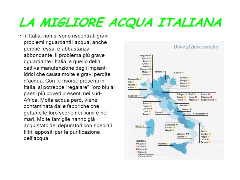 LA MIGLIORE ACQUA ITALIANA In Italia, non si sono riscontrati gravi problemi riguardanti lacqua, anche perché, essa è abbastanza abbondante. Il proble