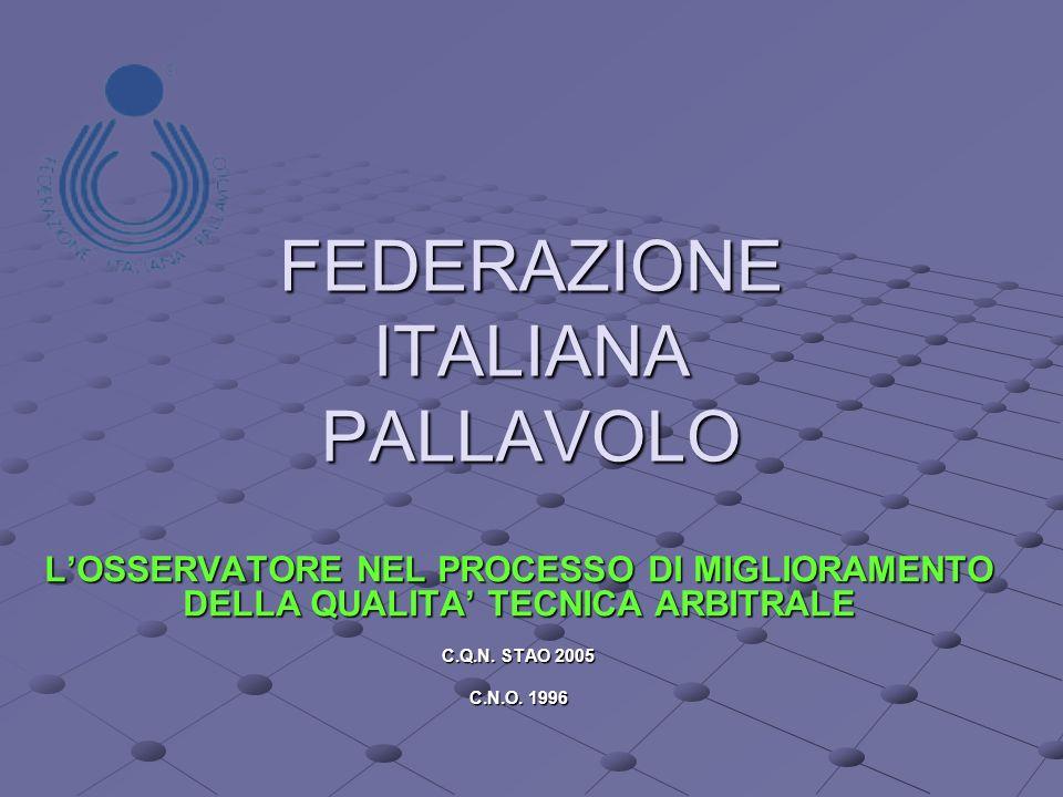 FEDERAZIONE ITALIANA PALLAVOLO LOSSERVATORE NEL PROCESSO DI MIGLIORAMENTO DELLA QUALITA TECNICA ARBITRALE C.Q.N.