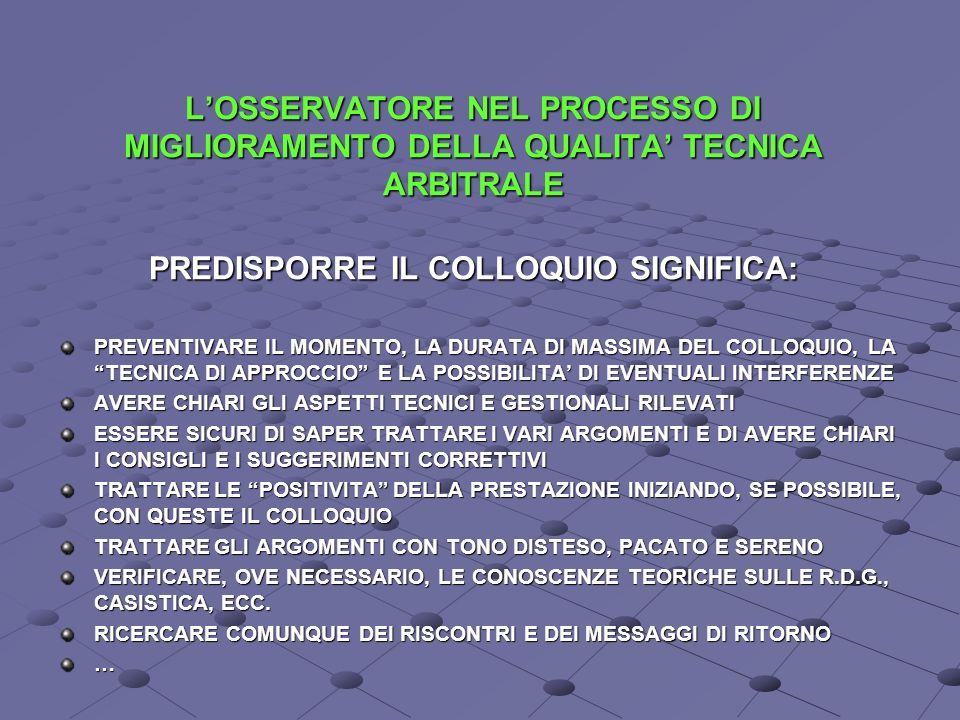 LOSSERVATORE NEL PROCESSO DI MIGLIORAMENTO DELLA QUALITA TECNICA ARBITRALE PREDISPORRE IL COLLOQUIO SIGNIFICA: PREVENTIVARE IL MOMENTO, LA DURATA DI MASSIMA DEL COLLOQUIO, LA TECNICA DI APPROCCIO E LA POSSIBILITA DI EVENTUALI INTERFERENZE AVERE CHIARI GLI ASPETTI TECNICI E GESTIONALI RILEVATI ESSERE SICURI DI SAPER TRATTARE I VARI ARGOMENTI E DI AVERE CHIARI I CONSIGLI E I SUGGERIMENTI CORRETTIVI TRATTARE LE POSITIVITA DELLA PRESTAZIONE INIZIANDO, SE POSSIBILE, CON QUESTE IL COLLOQUIO TRATTARE GLI ARGOMENTI CON TONO DISTESO, PACATO E SERENO VERIFICARE, OVE NECESSARIO, LE CONOSCENZE TEORICHE SULLE R.D.G., CASISTICA, ECC.
