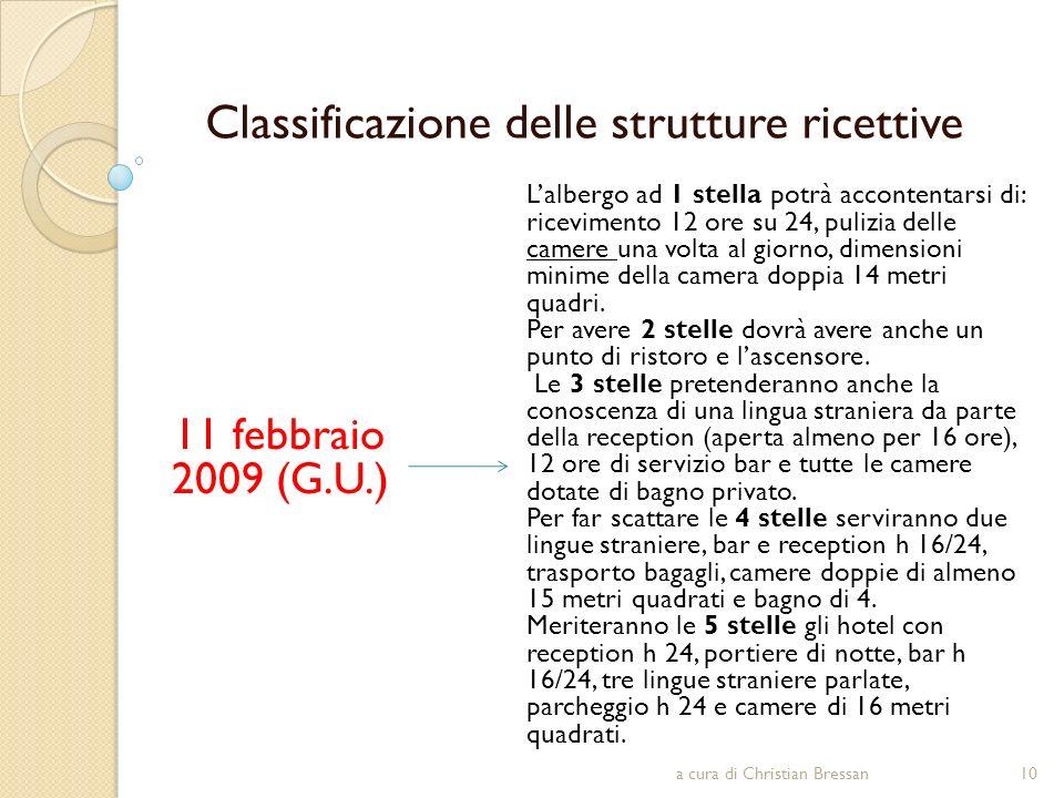 Classificazione delle strutture ricettive 11 febbraio 2009 (G.U.) Lalbergo ad 1 stella potrà accontentarsi di: ricevimento 12 ore su 24, pulizia delle