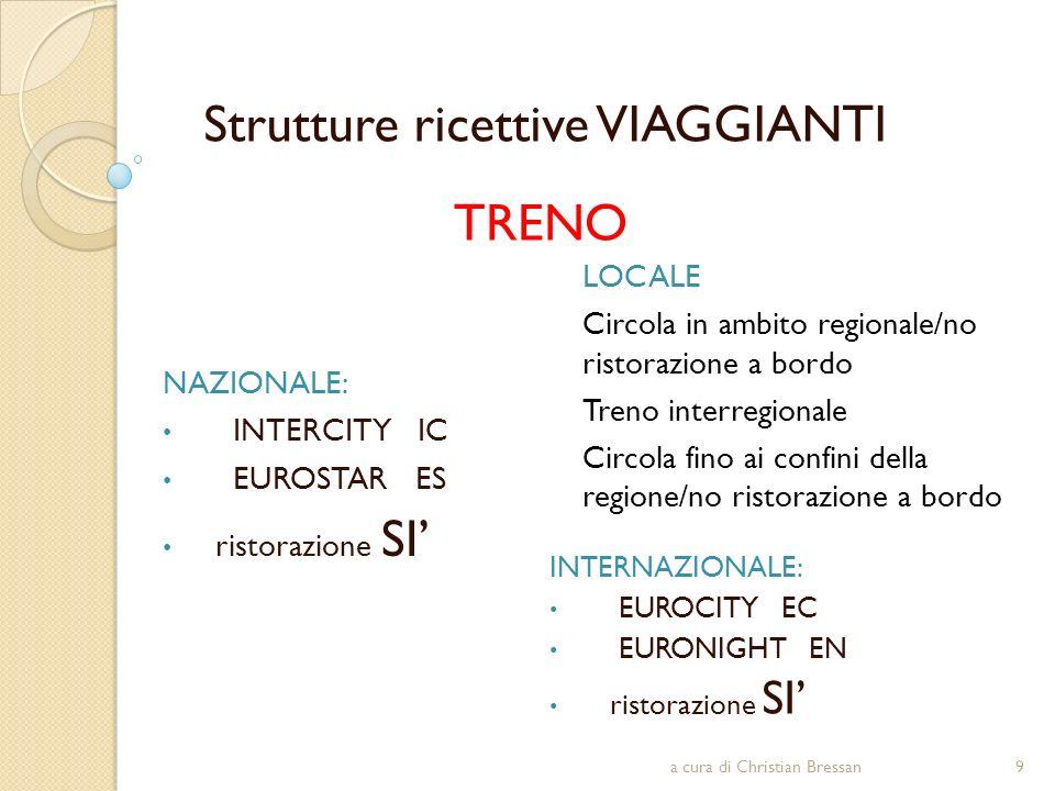 Strutture ricettive VIAGGIANTI TRENO LOCALE Circola in ambito regionale/no ristorazione a bordo Treno interregionale Circola fino ai confini della reg