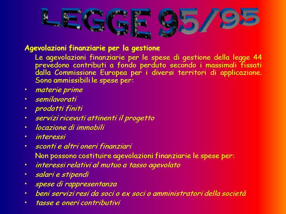 Agevolazioni finanziarie per la gestione Le agevolazioni finanziarie per le spese di gestione della legge 44 prevedono contributi a fondo perduto secondo i massimali fissati dalla Commissione Europea per i diversi territori di applicazione.