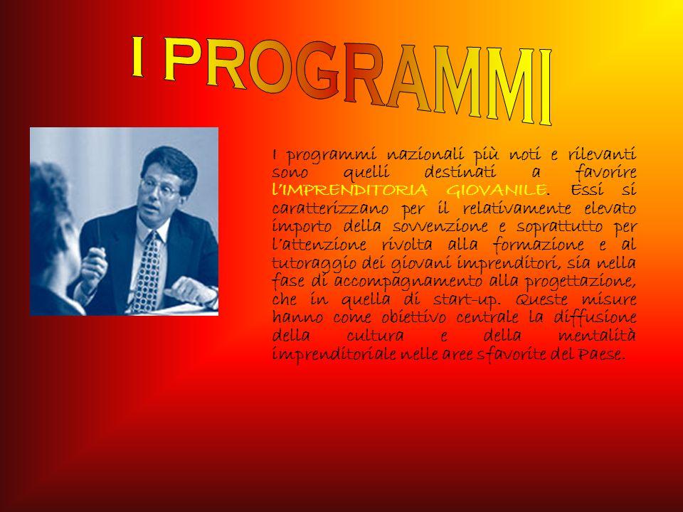 I programmi nazionali più noti e rilevanti sono quelli destinati a favorire lIMPRENDITORIA GIOVANILE.