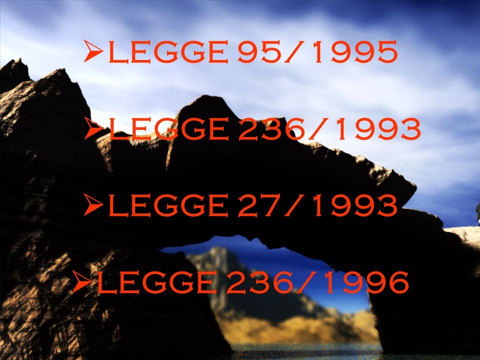 LEGGE 95/1995 LEGGE 236/1993 LEGGE 27/1993 LEGGE 236/1996