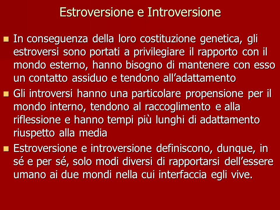 Estroversione e Introversione In conseguenza della loro costituzione genetica, gli estroversi sono portati a privilegiare il rapporto con il mondo est