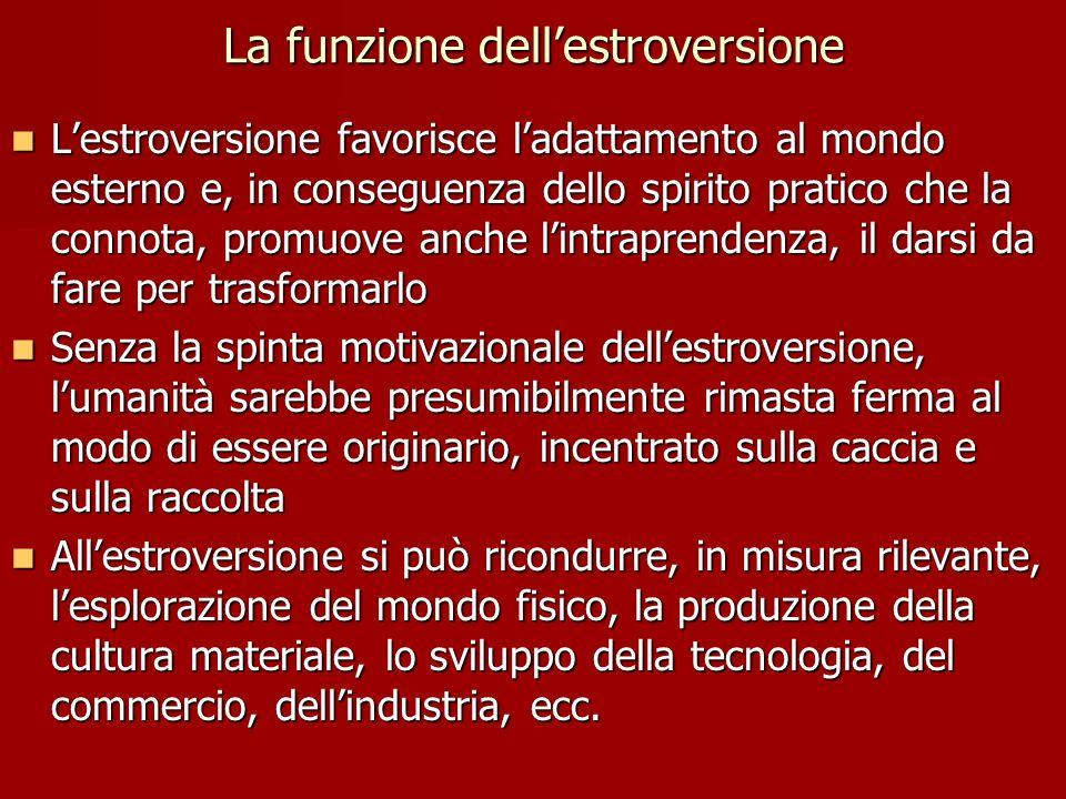 La funzione dellestroversione Lestroversione favorisce ladattamento al mondo esterno e, in conseguenza dello spirito pratico che la connota, promuove