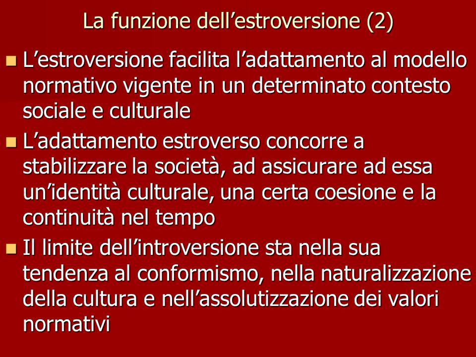 La funzione dellestroversione (2) Lestroversione facilita ladattamento al modello normativo vigente in un determinato contesto sociale e culturale Les