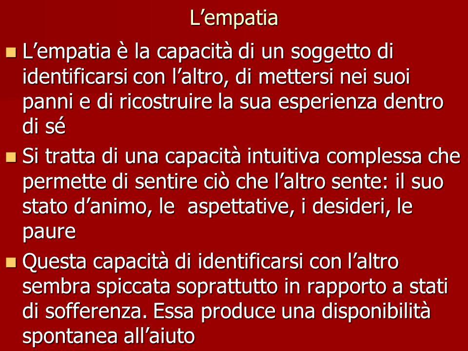 Lempatia Lempatia è la capacità di un soggetto di identificarsi con laltro, di mettersi nei suoi panni e di ricostruire la sua esperienza dentro di sé