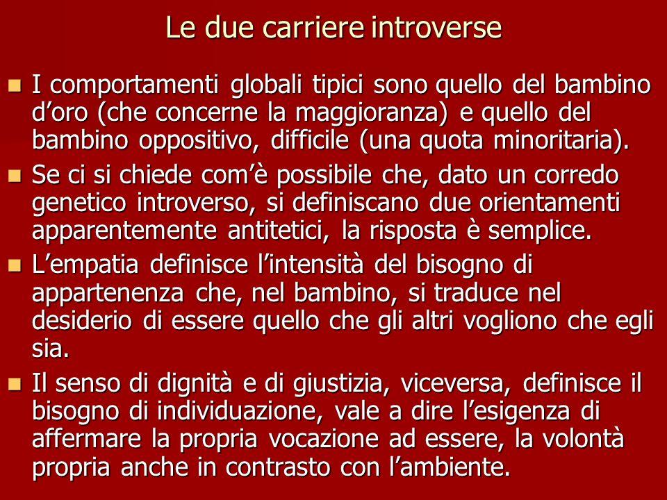 Le due carriere introverse I comportamenti globali tipici sono quello del bambino doro (che concerne la maggioranza) e quello del bambino oppositivo,