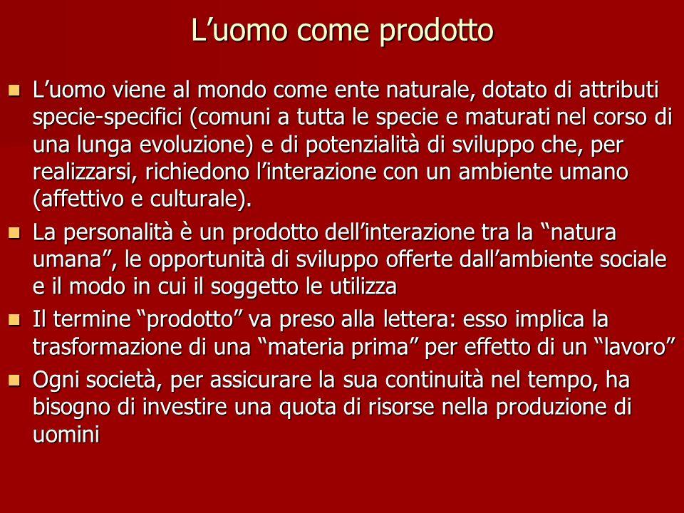Luomo come prodotto Luomo viene al mondo come ente naturale, dotato di attributi specie-specifici (comuni a tutta le specie e maturati nel corso di un
