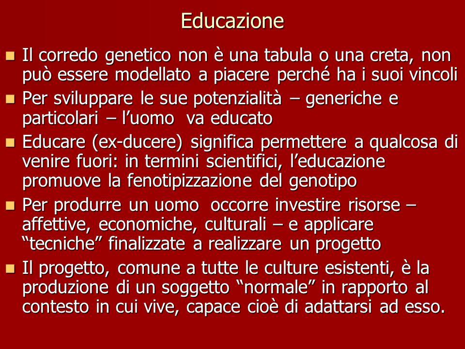 Educazione Il corredo genetico non è una tabula o una creta, non può essere modellato a piacere perché ha i suoi vincoli Il corredo genetico non è una