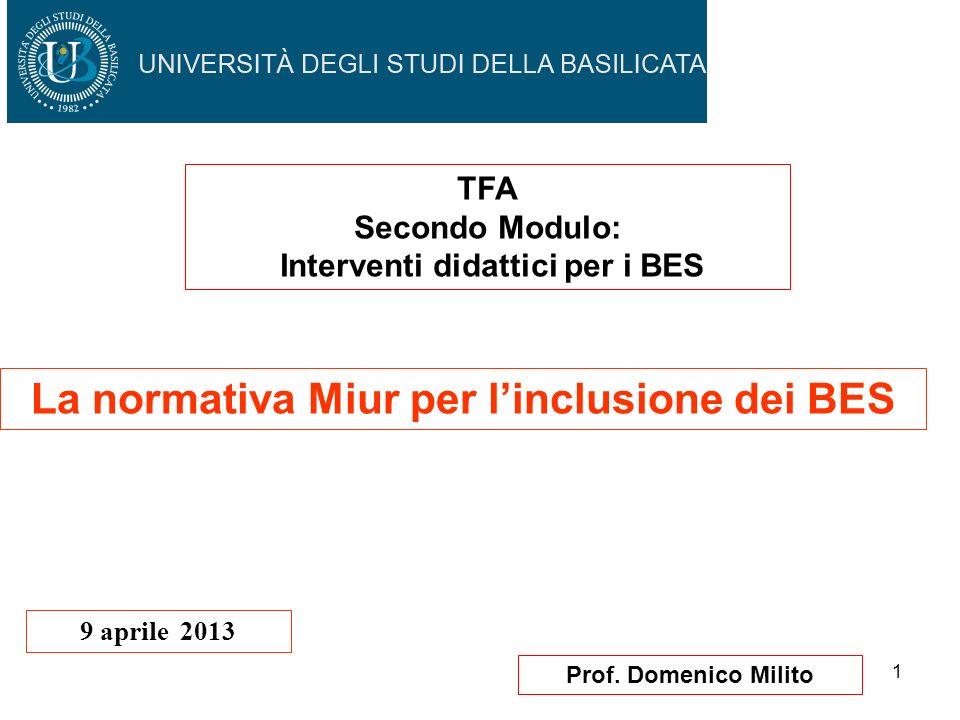 1 Prof. Domenico Milito La normativa Miur per linclusione dei BES 9 aprile 2013 TFA Secondo Modulo: Interventi didattici per i BES
