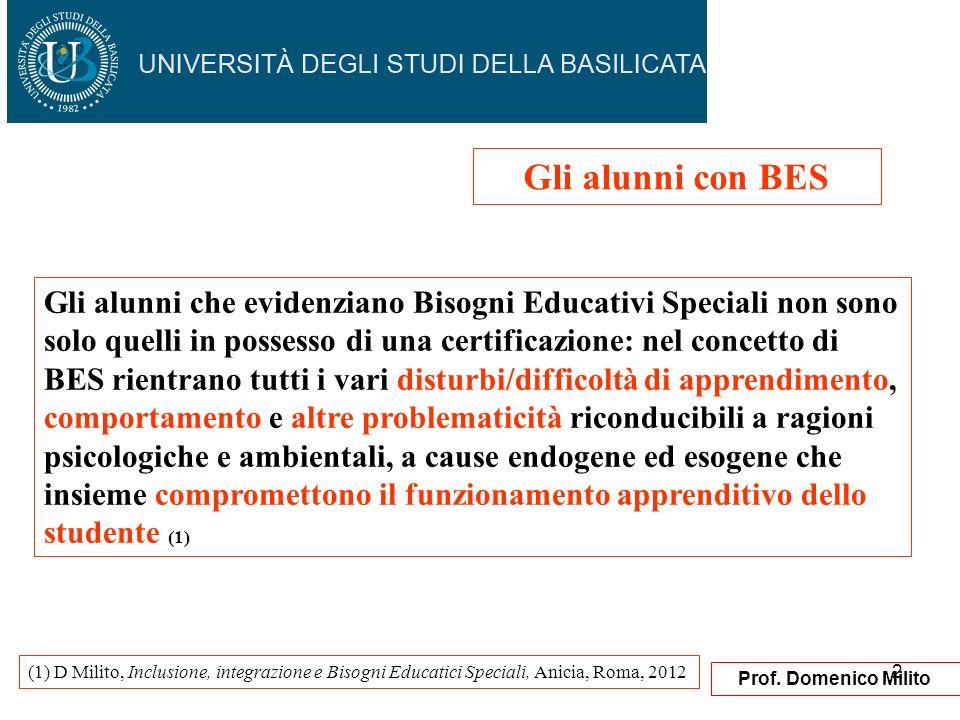 2 Prof. Domenico Milito Gli alunni che evidenziano Bisogni Educativi Speciali non sono solo quelli in possesso di una certificazione: nel concetto di