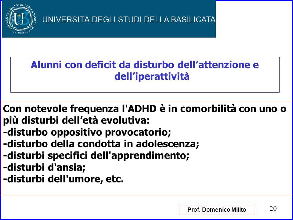 20 Alunni con deficit da disturbo dellattenzione e delliperattività Con notevole frequenza l'ADHD è in comorbilità con uno o più disturbi delletà evol