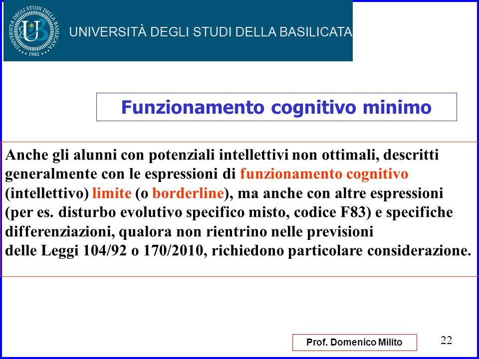 22 Funzionamento cognitivo minimo Anche gli alunni con potenziali intellettivi non ottimali, descritti generalmente con le espressioni di funzionament