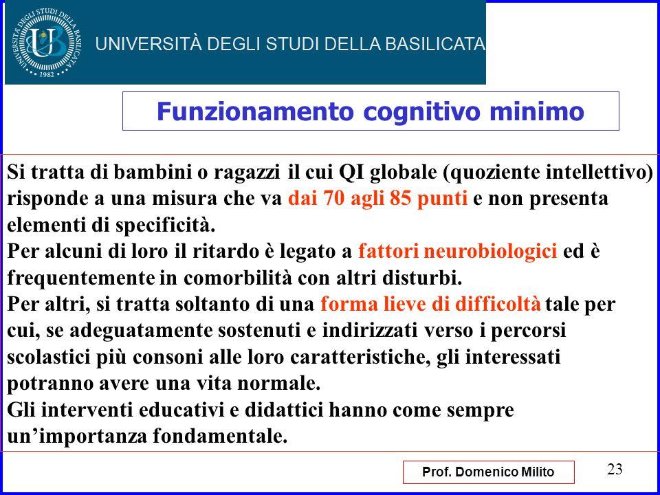 23 Funzionamento cognitivo minimo Si tratta di bambini o ragazzi il cui QI globale (quoziente intellettivo) risponde a una misura che va dai 70 agli 8
