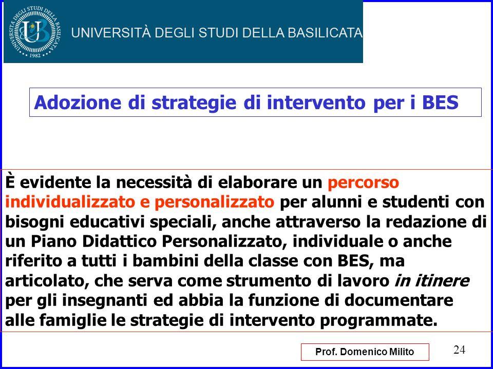 24 Adozione di strategie di intervento per i BES È evidente la necessità di elaborare un percorso individualizzato e personalizzato per alunni e stude