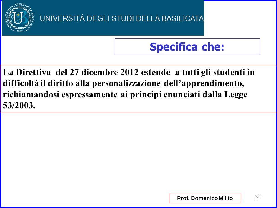 30 Specifica che: La Direttiva del 27 dicembre 2012 estende a tutti gli studenti in difficoltà il diritto alla personalizzazione dellapprendimento, ri