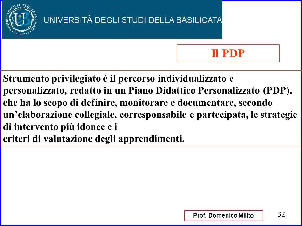 32 Strumento privilegiato è il percorso individualizzato e personalizzato, redatto in un Piano Didattico Personalizzato (PDP), che ha lo scopo di defi