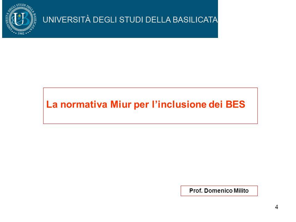 4 La normativa Miur per linclusione dei BES Prof. Domenico Milito