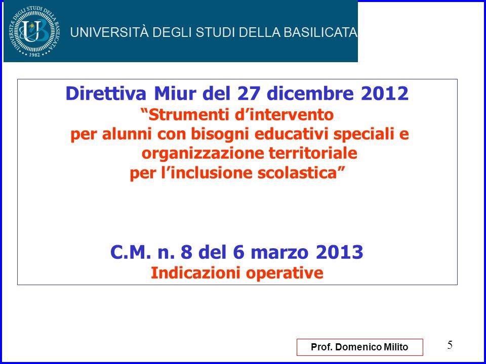 6 Direttiva Miur del 27 dicembre 2012 Strumenti dintervento per alunni con bisogni educativi speciali e organizzazione territoriale per linclusione scolastica Prof.