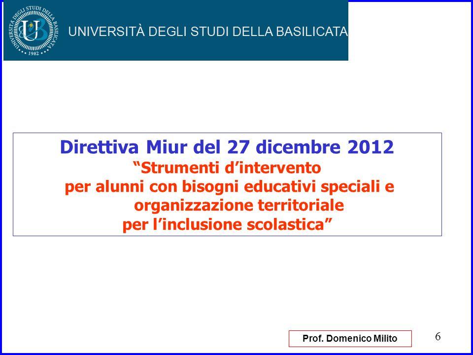 6 Direttiva Miur del 27 dicembre 2012 Strumenti dintervento per alunni con bisogni educativi speciali e organizzazione territoriale per linclusione sc