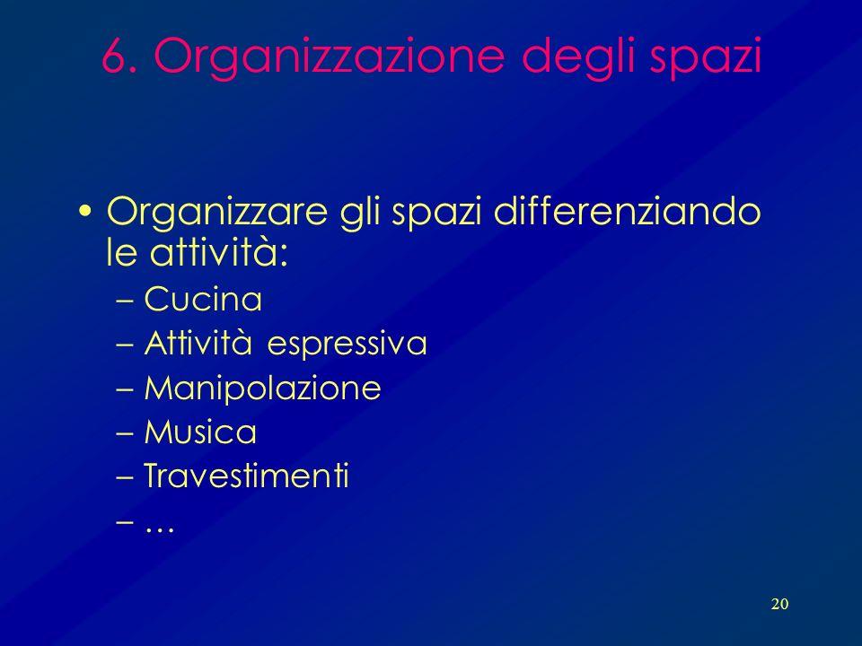 20 6. Organizzazione degli spazi Organizzare gli spazi differenziando le attività: –Cucina –Attività espressiva –Manipolazione –Musica –Travestimenti
