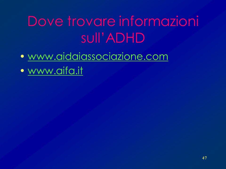 47 Dove trovare informazioni sullADHD www.aidaiassociazione.com www.aifa.it