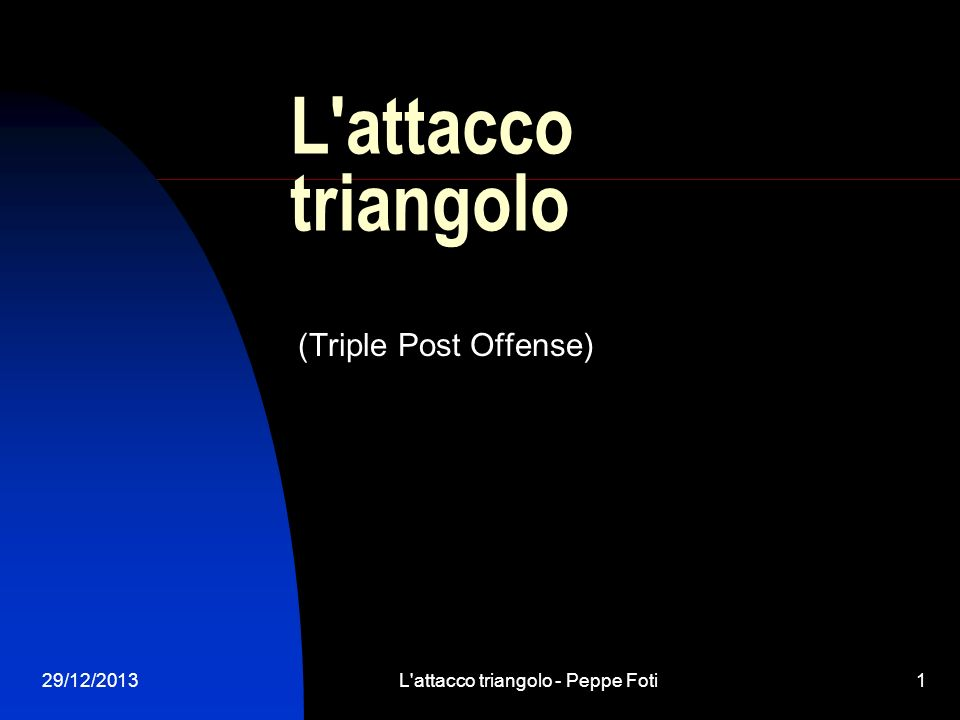 29/12/2013L attacco triangolo - Peppe Foti12 Formazione del triangolo: ingresso in palleggio Inizio in palleggio
