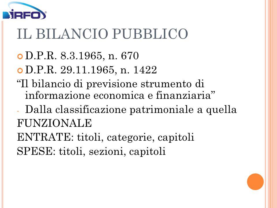 IL BILANCIO PUBBLICO D.P.R. 8.3.1965, n. 670 D.P.R. 29.11.1965, n. 1422 Il bilancio di previsione strumento di informazione economica e finanziaria -