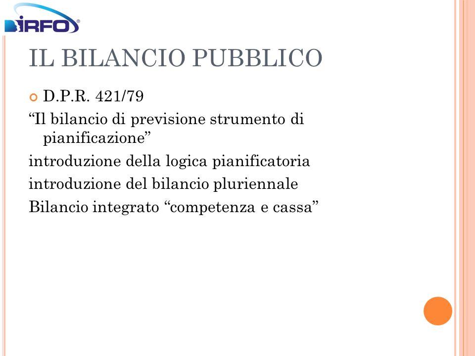 IL BILANCIO PUBBLICO D.P.R. 421/79 Il bilancio di previsione strumento di pianificazione introduzione della logica pianificatoria introduzione del bil